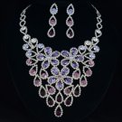 Hi-Quality Purple Flower Zircon Necklace Earring Set W/ Swarovski Crystals
