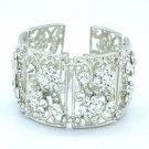 Silver Tone Clear Flower Bracelet Chain W/ Rhinestone Crystals Wedding 23405
