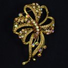 "4.7"" Pretty Light Smoked Topaz Bowknot Brooch Pin W/ Rhinestone Crystals"