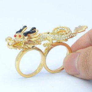 Clear Swarovski Crystals One Of 6# One Of 7# W/ Cocktail Animal Dragon Ring