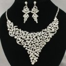 Glitzy Bridal Clear Flower Necklace Earring Set w/ Rhinestone Crystals Wedding