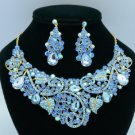 Gold Tone Leaf Flower Necklace Earring Set W/ Blue Rhinestone Crystals 02608