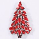 Red Christmas Tree Brooch Broach Pin W/ Swarovski Crystals