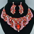 Silver Tone Flower Leaf Necklace Earring Set W/ Red Rhinestone Crystals 02623