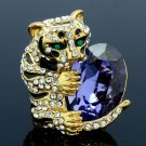 Swarovski Crystals Cute Feral Tiger Cocktail Ring Size Adjustable W/ Gold Tone