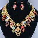 Goth Style Skeleton Skull Necklace Earring Set W/ Multicolor Swarovski Crystals
