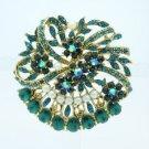 "Rhinestone Crystals Faux Pearl Green Flower Brooch Broach Pin 2.1"" 8805837C9"
