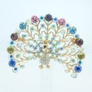 Cute Animal Peafowl Peacock Brooch Broach Pin W/ Rhinestone Crystals BT4986X