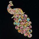 "Rhinestone Crystal Multicolor Animal Peafowl Peacock Brooch Broach Pin 4.9"" 4871"