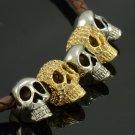 5 Skull Head Skeleton Brown Synthetic Leather Necklace Pendant Swarovski Crystal
