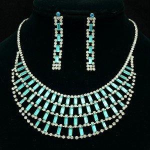 Gorgeous Blue Oblong Flower Necklace Earring Set W/ Swarovski Crystals