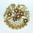 "Rhinestone Crystals Faux Pearl Brown Flower Brooch Broach Pin 2.1"" 8805837C9"
