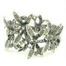 Vintage Style Trendy Black Dragonfly Bracelet Bangle Cuff w Rhinestone Crystals