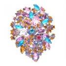 "Multicolor Rhinestone Crystals Teardrop Flower Brooch Broach Pin 3.9"" 3905"