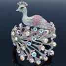 Swarovski Crystals H-Quality Pink Peafowl Peacock Bracelet Bangle Cuff