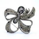 "Teardrop Bowknot Riband Flower Brooch Pin W/ Gray Rhinestone Crystal 3.7"""