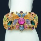 H-Quality Multicolor Flower Bracelet Bangle W/ Swarovski Crystals SKCA1751-3