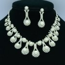 Clear Swarovski Crystals Trendy Pearl Necklace Earring Wedding Jewelry Sets