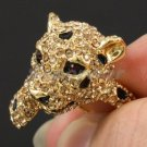 Swarovski Crystals Gold Tone Cute Topaz Panther Leopard Cocktail Ring Size 9#
