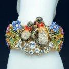 2 Penuins Enamel Flower Bracelet Bangle Multicolor Swarovski Crystal SKCA1770-2