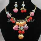 Vogue Strawberry Apple Fruit Necklace Earring Set Swarovski Crystal SN2342