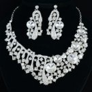Clear Rhinestone Crystals Bride Trendy Floral Flower Necklace Earring Set 04370