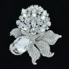 "5851 Silver Tone Flower Pendant Brooch Broach Pin 3.1"" W/ Rhinestone Crystals"