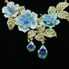 H-Quality Pretty Rose Flower Necklace Earring Set W/ Blue Swarovski Crystals