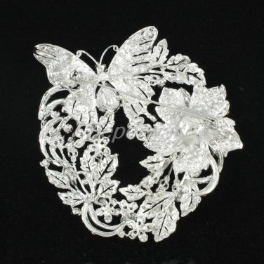 Flower Butterfly Brooch Broach Pin w/ Blue Rhodium Crystals