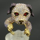 Lovely Dog Doggie Cocktail Ring Sz 7# W/ Hi-Quality Purple Swarovski Crystals