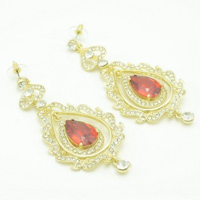 Trendy Red Zircon Flower Pierced Earring W/ Clear Rhinestone Crystals