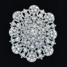 "Rhinestone Crystals Clear Flower Brooch Broach Pin 2.7"" Wedding BT5056"