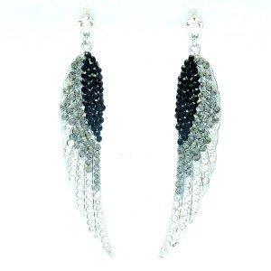 Angle Wings Dangle Earring W/ Gray Clear Rhinestone Crystals