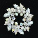 """Silver Tone Rhinestone Crystals Clear Round Leaf Flower Brooch Pin 2.1"""""""