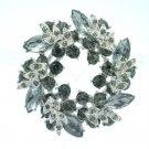 """Silver Tone Rhinestone Crystals Gray Round Leaf Flower Brooch Broach Pin 2.1"""""""