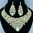 Teardrop Clear Rhinestone Crystals Flower Necklace Earring Jewelry Sets 02644