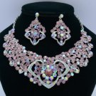 Heart Flower Necklace Earring Jewelry Sets W/ Purple Rhinestone Crystals 02633