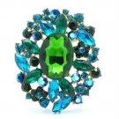 "4888 Vintage Style Rhinestone Crystals Green Flower Brooch Broach Pin 2.5"""