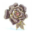 "Vintage Style Rhinestone Crystals Purple Rose Flower Brooch Broach Pin 2.7"" 4139"