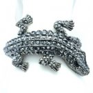 Terrible Animal Crocodile Bracelet Bangle Cuff W/ Black A/B Swarovski Crystals