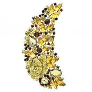 "4.8"" VTG Style Rhinestone Crystals Brown Teardrop Flower Brooch Broach Pin 4058"