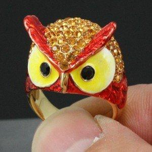 Swarovski Crystals High Quality Animal Cute Red Bird Owl Cocktail Ring Sz 6#