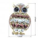 "Vintage Vogue Animal Owl Brooch Pin 2.7"" Purple Rhinestone Crystals"