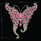 Silver Tone Butterfly Brooch Broach Pin W/ Pink Rhinestone Crystals 8803683
