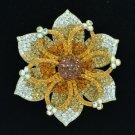"Beautiful Floral Brown Flower Brooch Broach Pin 4.1"" W/ Rhinestone Crystals 3487"