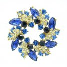 Gold Tone Rhinestone Crystals Blue Round Leaf Flower Brooch Broach Pin 2.1""