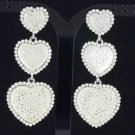 Swarovski Crystals Silver Tone Clear 3 Heart Dangle Pierced Earring