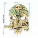 Cool Green Falchion Skeleton Skull Ring Size Adjustable w/ Swarovski Crystals