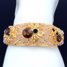 H-Quality Tarantula Spider Bracelet Bangle W/ Topaz Swarovski Crystals Halloween
