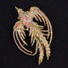 "2338 Vintage Style Rhinestone Crystal Multicolor Peafowl Peacock Brooch Pin 3.4"""